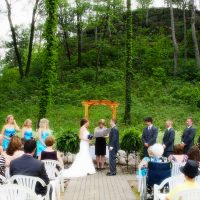 Couple getting married outside at Drugan's in Holmen, WI