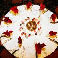 Wedding table setting at Drugan's in Holmen, WI