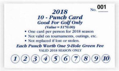 Drugan's Castle Mound - 2018 Golf Punch Card