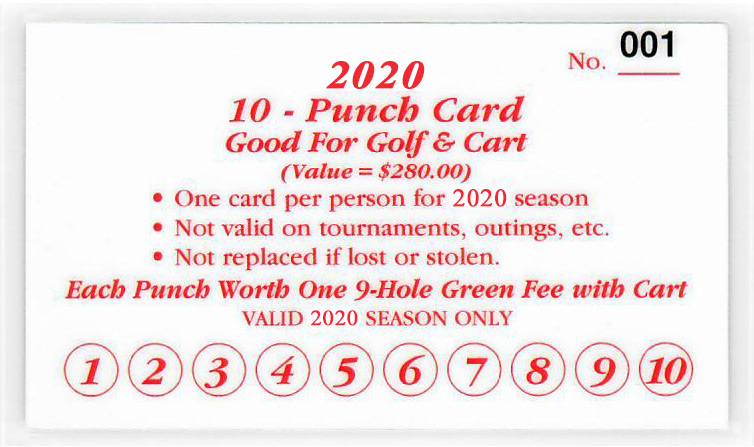 Drugan's Castle Mound - 2020 Golf and Cart Punch Card