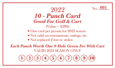Drugan's Castle Mound Golf and Cart Punch Card for 2022 Season