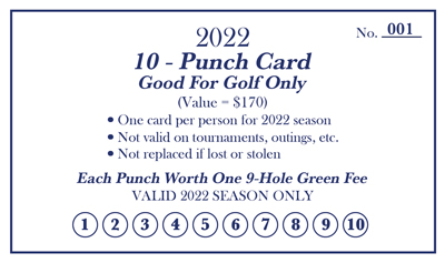 Drugan's Castle Mound Golf Only Punch Card for 2022 Season